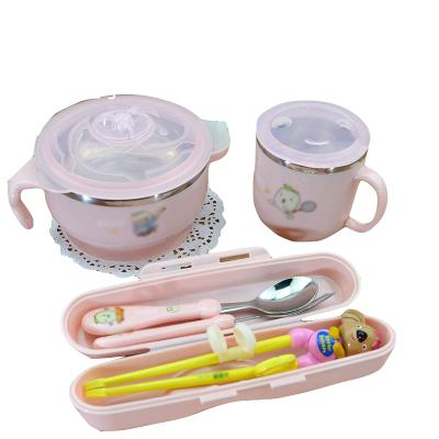 兒童吃飯碗筷餐具套裝吸盤家用可愛卡通寶寶學習訓練筷子勺叉-碗考拉粉筷叉勺盒水杯 碗筷盒綠