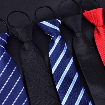 男士拉鏈領帶新郎結婚紅色8cm正裝商務黑色免打結懶人易拉得藍色 莎丞