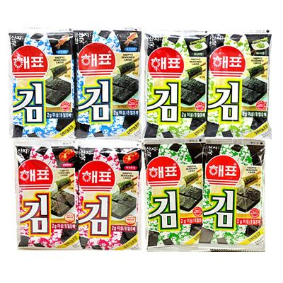 海牌海苔2g*8小包壽司海苔即食兒童休閑零食韓國進口紫菜拌飯海苔