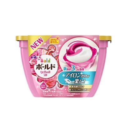 【添加柔顺剂】宝洁(Procter&Gamble) 日本原装 3D洗衣凝珠洗衣液球粉色花果香18粒0.356kg