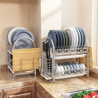 家佰利(jiabaili) 廚房置物架 304不銹鋼碗碟架瀝水碗架廚房收納架碗架收納架放刀架筷子筒廚房用品收納層架