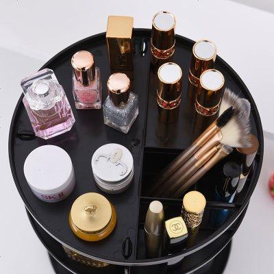 桌面化妆品收纳盒家用简约大容量收纳置物架洗脸梳妆台旋转盘拖架