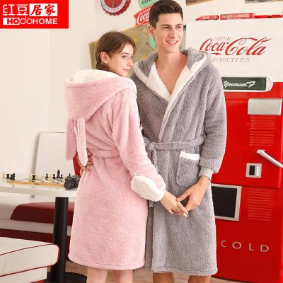 红豆居家(Hodohome)新品秋冬情侣金丝绒睡袍男士女士柔软舒适卡通可爱厚实浴袍