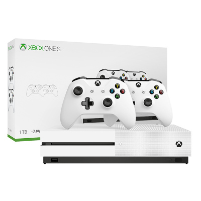 微軟(Microsoft)Xbox One S 1TB 家庭娛樂雙手柄套裝 冰河白 4k超清 1TB存儲