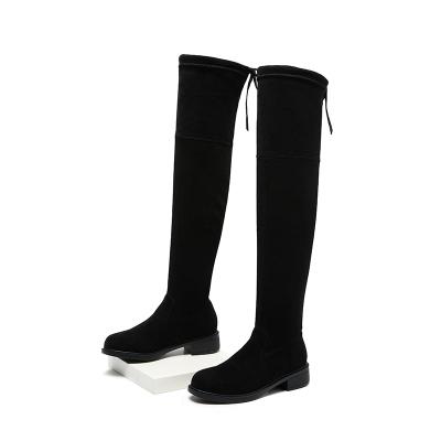 马克华菲女鞋长筒靴女2018冬季过膝长靴平跟瘦腿弹力粗跟骑士靴女