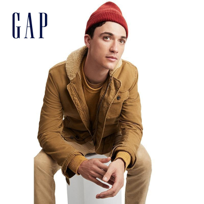 Gap男裝翻領棉服486990 男士時尚簡約外套男短款