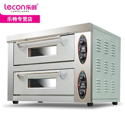 【品牌自营】乐创(lecon)商用烤箱 马卡龙蛋挞 烘焙烤箱 烘焙设备 二层二盘两盘石板烤箱专业烤箱