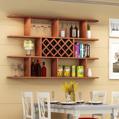 定制酒柜壁掛酒架吊柜餐廳墻上置物架簡約現代紅酒格子 三層柚木色1.6米(11格)