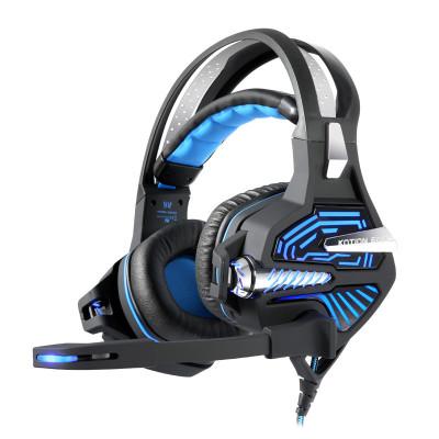 因卓GS100震動版電腦游戲耳機頭戴式電競耳麥USB7.1聲卡多功能線控 2米編織線 黑藍黑紅雙色可選