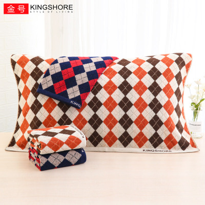 KING SHORE/金號正品 純棉枕巾兩條裝 全棉一對加厚 柔軟舒適80*52