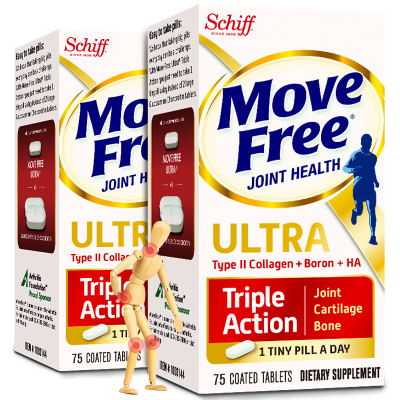 Schiff Move Free旭福益節骨膠原蛋白軟骨素維骨力氨糖搭檔促維生素D鈣鎂片鈣片吸收保護關節寶白瓶75粒/一瓶