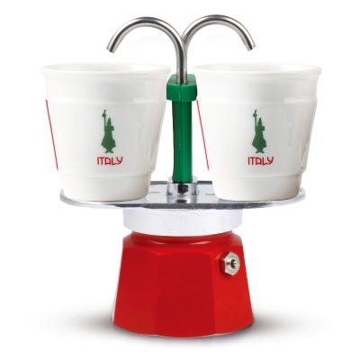 【意大利進口】BIALETTI比樂蒂 2杯意式咖啡家用煮咖啡壺情侶雙享壺 + 陶瓷咖啡杯2個 滲濾式半自動咖啡粉適用