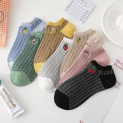 【5雙裝】襪子女刺繡格子水果女船襪牛油果草莓短襪黑色春夏