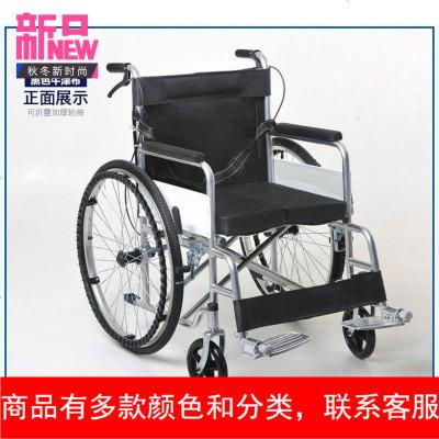 轮椅加厚钢管轮椅加厚坐垫可折叠轮椅四刹老人轻便轮椅车