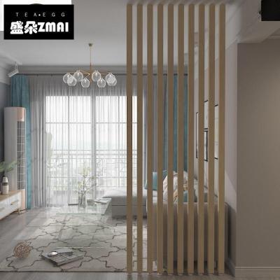 實木隔斷裝飾屏風木條客廳鏤空鐵藝立柱玄關原木格柵-j06 實木粗5*6CM-長2~2.5米/單根