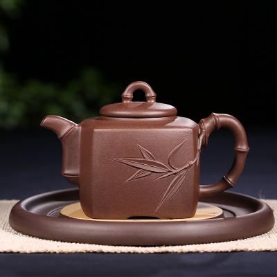 高檔宜興原礦紫砂壺大容量茶具家用純全手工名家正宗四方竹節壺