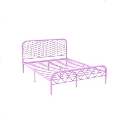 北歐ins網紅風斯黛拉金色雙人鐵床極簡設計師1.8米床鐵藝床成人 1800mm*1900mm_粉紅色(排骨