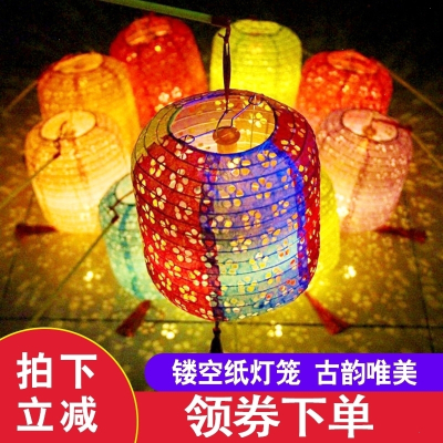 古風紙燈籠中國風折疊掛飾裝飾手工中式吊燈鏤空發光漢服拍攝道具 鏤空-綠色
