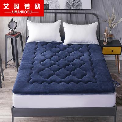 艾玛诺欧家纺 加厚法莱绒可折叠梅花款床垫 单双人1.5米1.8米纯色床垫 简约风床褥榻榻米床垫学生1.2米垫子四季款床垫
