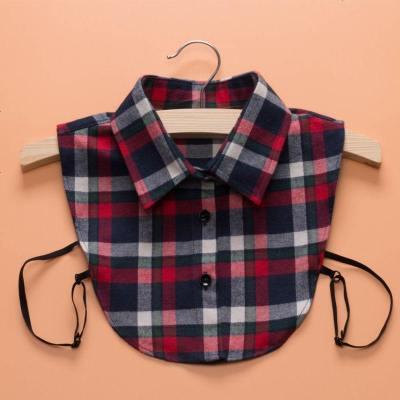 迷几儿童假领子磨毛格子衬衣领男童女宝宝毛衣装饰领白色百搭假领