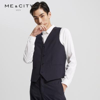【2件2.5折價:124.8】ME&CITY男裝春季新款豎條紋商務紳士馬甲