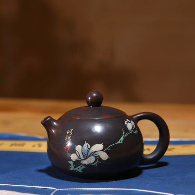 建水紫陶茶壺彩填西施壺玉蘭壺純手工陶壺紫陶壺扁西施壺