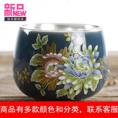 家用陶瓷鎏银茶杯汝窑主人杯单杯品茗杯功夫茶杯茶具茶盏茶碗