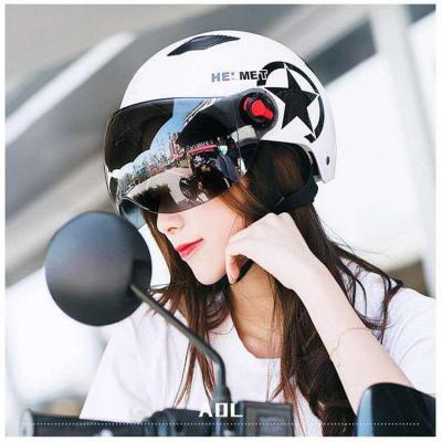 哈雷頭盔夏季電瓶車安全頭帽電動可愛機車四季頭盔男士女士 白色哈雷