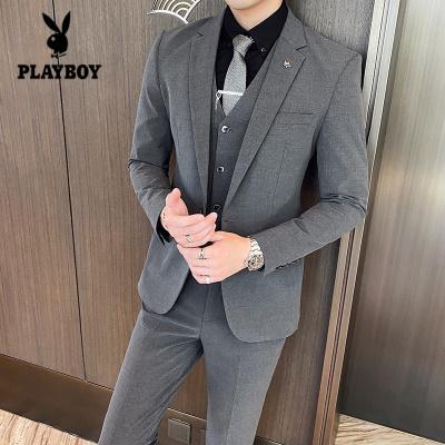 花花公子 ( PLAYBOY ICON )M-7XL大碼西服套裝男韓版潮流修身男士西服三件套