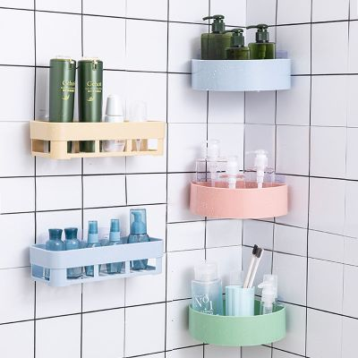 【蘇寧好貨】衛生間置物架壁掛浴室置物架免打孔廁所吸壁式吸盤衛浴 隨機色三角形(1個裝)