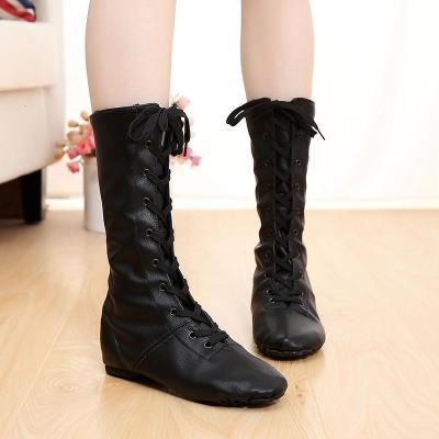 舞蹈鞋女软底练功鞋教师鞋钢管男黑色系带高帮加长帆布长筒爵士靴 黑色加长PU皮(定做) 28