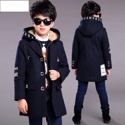 男童冬装中长款毛呢外套2019新款儿童中大童洋气呢子大衣潮 莎丞