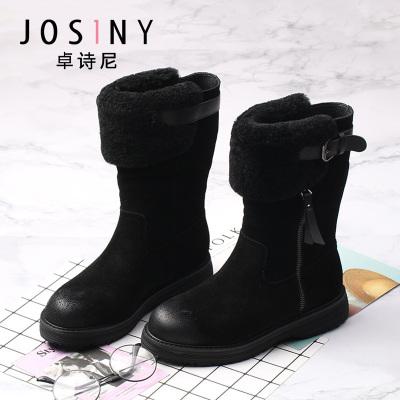 卓詩尼冬季時尚靴子圓頭坡跟側拉鏈裝飾女靴子147814626