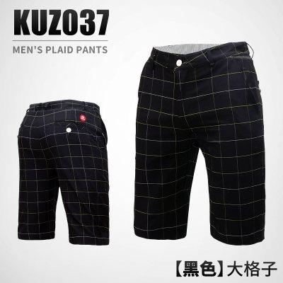 高爾夫五分褲子 男款黑色格子短褲 高爾夫運動球褲