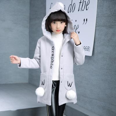 兒童連帽長款毛呢大衣可愛毛球裝飾口袋外套女孩甜美可愛字母潮衣小清新學生保暖上衣