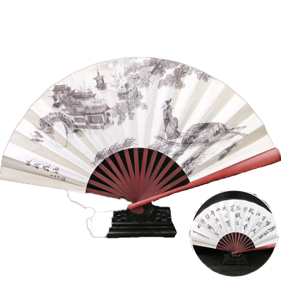 中國風男絹扇古風扇子折扇隨身日用扇便攜復古折疊扇-楓橋夜泊
