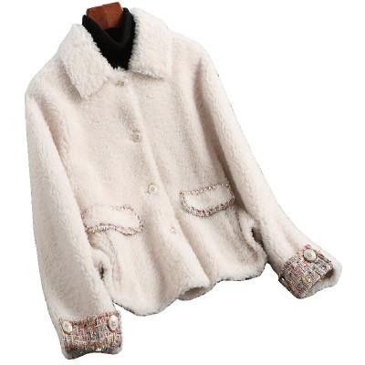 兰奥女士时尚拼接短款羊剪绒大衣复合皮毛一体羊毛皮草外套