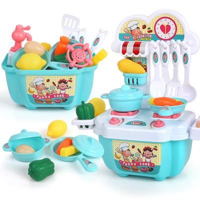 勾勾手(gougoushou)兒童過家家玩具3-6歲男孩女做飯仿真廚具餐具寶寶玩具迷你餐臺22件套【薄荷綠】