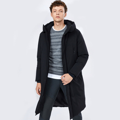 BOSIDENG брэндийн зузаан загварлаг малгайтай эрэгтэй куртка B80142013 хар805 170/88A