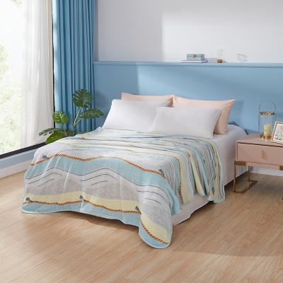 羅萊家紡床上用品簡約雙人床冬季毛毯休閑毯野性琉璃法蘭絨毯