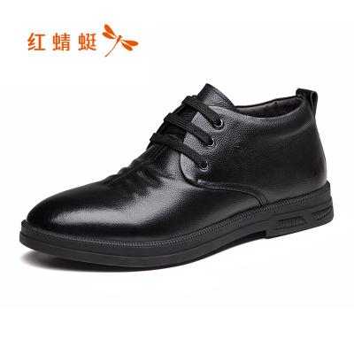 红蜻蜓男鞋2019冬季新款时尚休闲真皮高帮皮鞋男加绒保暖男士棉鞋