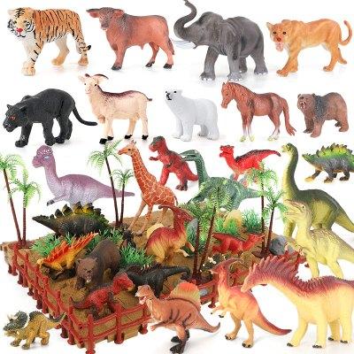 紐奇(Nukied)兒童玩具仿真動物恐龍模型男孩益智玩具恐龍動物套裝 帶場景恐龍動物74件套 【14只恐龍+10只動物】