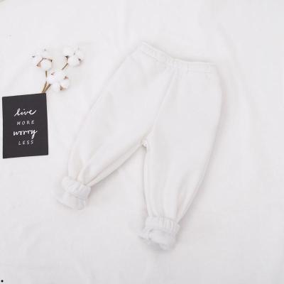 中大童长裤女童秋冬白色加绒运动裤男童一体绒束脚裤橙色宝宝裤子