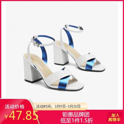 Daphne/達芙妮專柜正品女鞋 時尚方頭撞色拼接粗交叉踝帶高跟涼鞋
