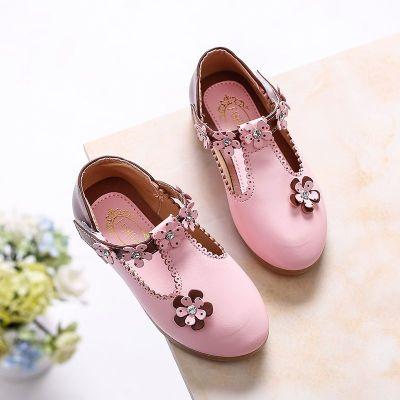 女童皮鞋公主鞋2019新款韩版女童鞋宝宝鞋儿童单鞋钻石花豆豆鞋 TCVV