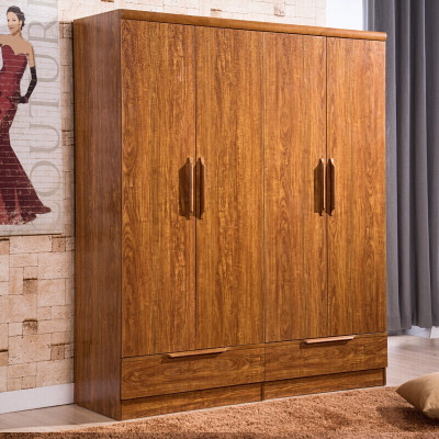 御品工匠 實木衣柜 平開門大衣柜 實木四門衣柜可加頂柜 現代中式衣柜