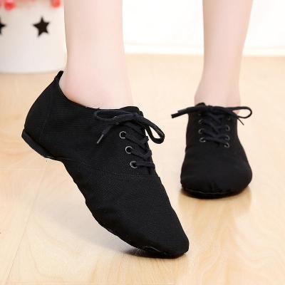 铁箭爵士舞鞋女系带低帮黑色舞蹈鞋芭蕾舞健身帆布软底成人练功鞋 黑色(建议拍大一码) 28