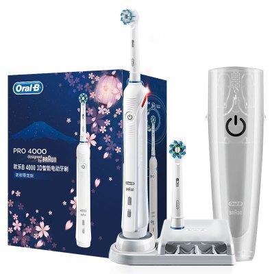 歐樂-B(Oral-B)電動牙刷 3D聲波震動成人充電式牙刷 P4000 櫻花版(白/黑) 德國進口