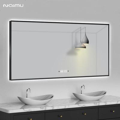 顧致智能帶框浴室鏡衛生間led帶燈防霧衛浴鏡壁掛定制洗手臺廁所鏡子