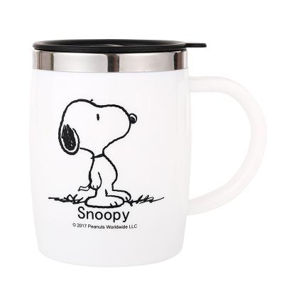 史努比(SNOOPY)保溫杯不銹鋼隔熱喝水杯男女士情侶辦公室咖啡杯馬克杯學生大容量飲水杯420ML-5002白色